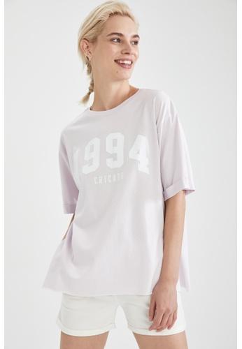 DeFacto purple Short Sleeve Oversize Cotton T-Shirt D23FDAA0CAB094GS_1