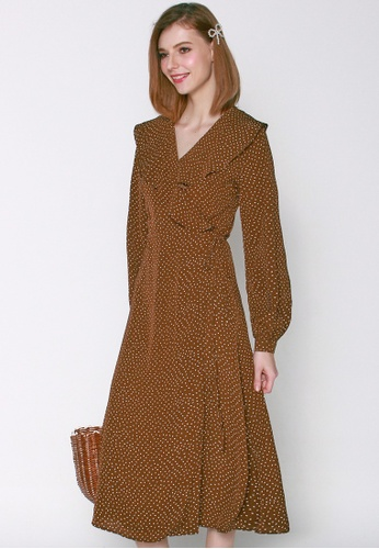 JOVET beige and brown Frilled Sleeve Wrap Dress 43D9DAAEC086A0GS_1