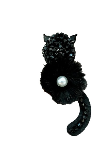 Kings Collection black Crystal Meow Faux Pearl Brooch (KCHM1012) 6A5EFAC24A198FGS_1