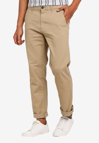 Burton Menswear London 米褐色 直筒卡其褲 371BDAAFFF2127GS_1