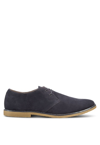 TOPMAN navy Navy Faux Suede Derby Shoes TO413SH85NDEMY_1