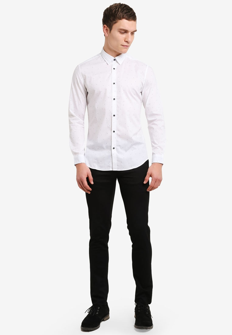 Long G2000 White Sleeve Irregular Shirt Dotted zw5TAqp