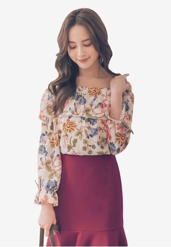 Yoco white Floral Off Shoulder Top E0CD0AA2281209GS_1