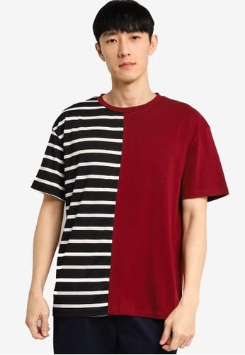ZALORA BASICS red and multi Stripe Block Oversized T-shirt 4056BAAD3B2B96GS_1