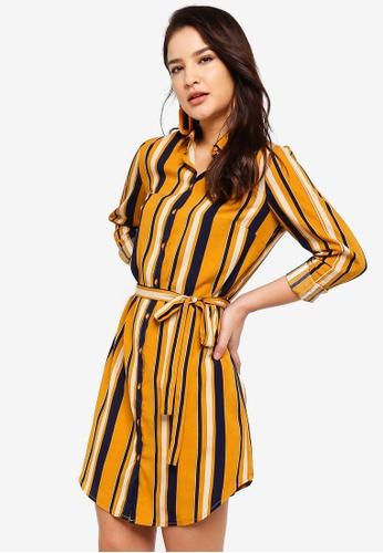 ZALORA yellow and multi and navy Shirt Dress B712FAADCBEE7EGS_1
