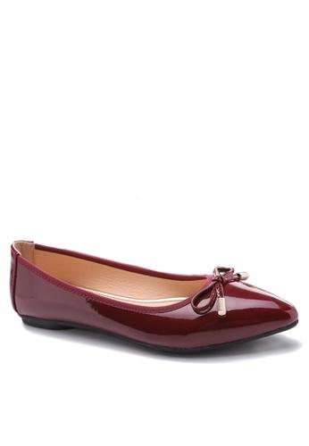 Twenty Eight Shoes 紅色 金屬裝飾蝴蝶結平底鞋 VL102878 10A31SH1C74165GS_1