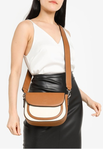 Keddo white and brown Rosanda Sling Bag 72B9BAC053DB9FGS_1