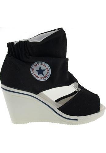 Maxstar black Maxstar Women's 775 Open Toe Elastic Ankle Canvas Wedge Heel Sandals US Women Size MA164SH98QRLSG_1