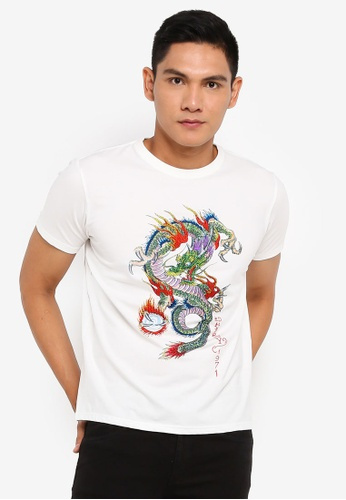 "Ed Hardy white ""Blazing Dragon"" Rhinestone Embroidered Round Neck Tee in Off White 07BA1AAD3A28FBGS_1"