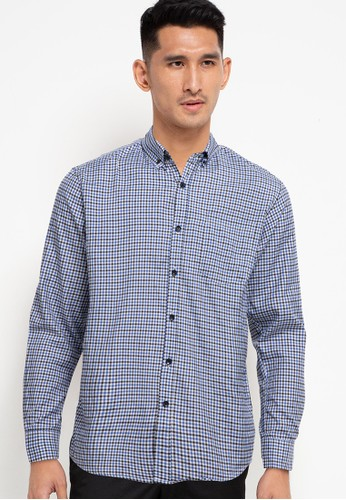 Halvor blue and multi Gingham Check Long Sleeve Shirt BAF48AA5E35D1BGS_1