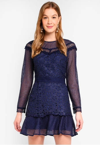 True Decadence navy Mesh Lace Dress AB881AA21D757AGS_1