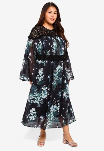 ELVI black Plus Size Beatrix Floral Mix Tea Dress EBA02AA635E8EEGS_1
