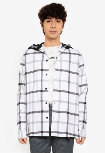 Hollister white Long Sleeve Hooded Shirt A7854AA7538113GS_1