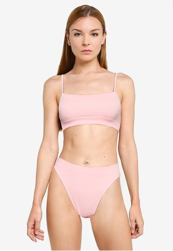 Cotton On Body pink Seamfree Straight Neck Crop Bra and Panties Set 1CBC1USF422D27GS_1