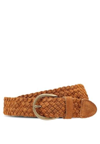 ONLY 褐色 Louisa 編織皮革牛仔褲腰帶 21C3DACA5EC25CGS_1