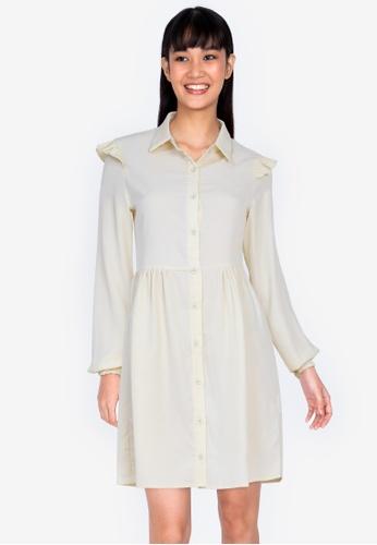 ZALORA BASICS beige Frill Detail Shirt Dress 63C61AA493C2AFGS_1