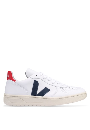 Veja white V-10 Leather Sneakers 71A6DSH8A66D3AGS_1