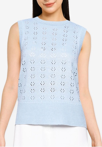 ONLY blue Astrala Sleeveless Knit Vest 25616AAD2BA08CGS_1