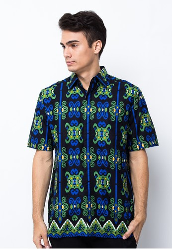 Pradawita green Pradawita Batik Kemeja Lengan Pendek Smartpress 2B - Hijau 597E4AADDC5B7AGS_1