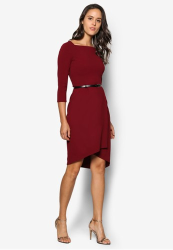 不對稱裙擺腰帶洋裝, 服飾,esprit 高雄 洋裝