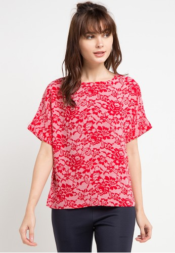 KORZ red Lace Print Cap Sleeve Blouse F0468AA19B458AGS_1