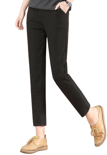 A-IN GIRLS black Plaid Thermal Trousers With Elastic Waist (Plus Cashmere) 73144AAFC192E0GS_1