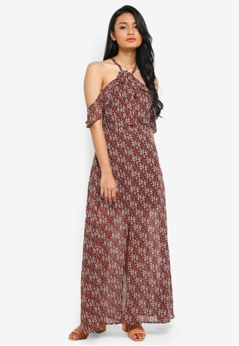 Preen & Proper brown Halter Maxi Dress With Front Slit E354FAA9DEEAABGS_1