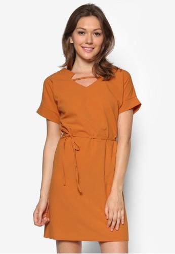Hillevi 鏤空腰帶連身裙, esprit hk服飾, 服飾