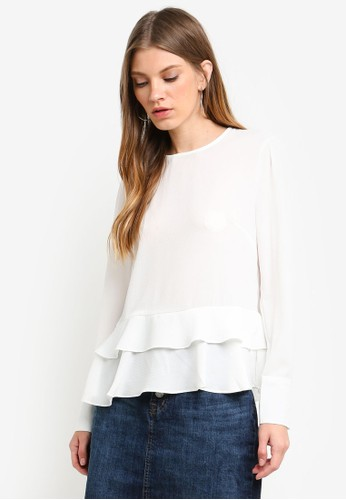 Brave Soul white Ruffle Hem Long Sleeve Blouse 38B72AA53A3B18GS_1