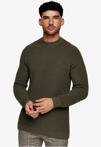 Topman green Olive Turtle Neck Knitted Jumper B1185AA97AA56DGS_1