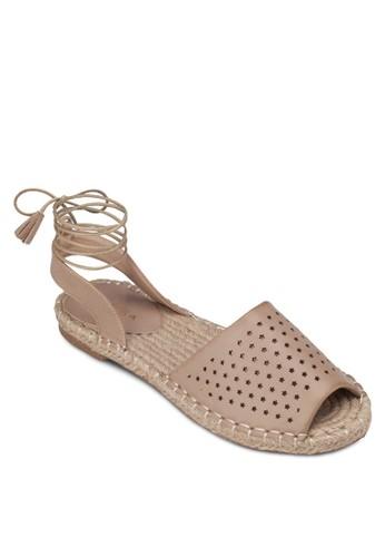 zalora 順豐沖孔麻編繞踝涼鞋, 女鞋, 涼鞋
