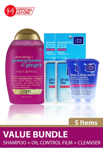 OGX OGX Pomegranate Ginger Shampoo 385ml + Clean & Clear Oil-Control Film 60s x 2 + Deep Action Oil-Free Cleanser 50g x 2 6CBABBEE27F6A9GS_1