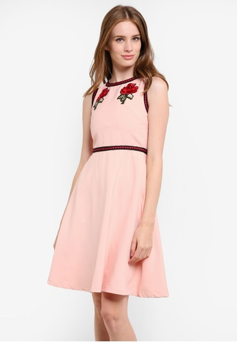 Megane pink Jesenia Flower Patched Dress ME617AA0REJHMY_1