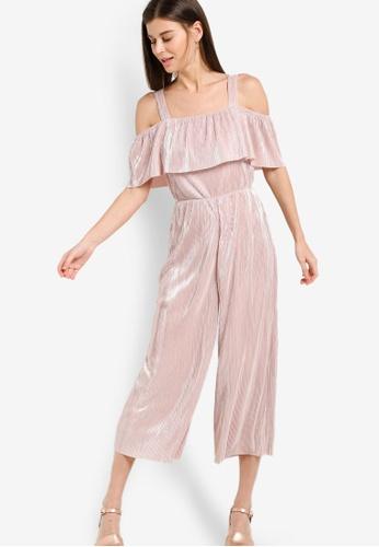 WAREHOUSE pink Foil Plisse Frill Jumpsuit WA653AA47ECAMY_1