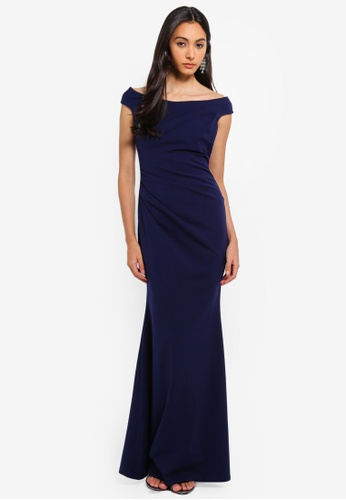 Goddiva navy Fishtail Maxi Dress With Pleating Detail 13A91AA94D0799GS_1