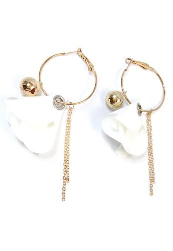 La Miina gold Levi Flower Hoop White Earrings 556E9AC61FE4E2GS_1
