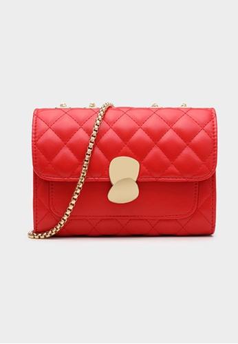 Lara red Women's PU Leather Rhombic Embossed Flap Chain Mini Cross-body Bag - Red 9D2C8AC3E45258GS_1