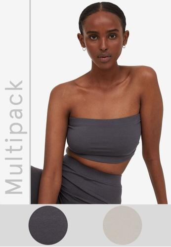 H&M grey and beige 2-Pack Cropped Tube Tops 6845EAAB638BA9GS_1