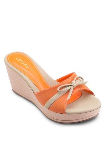 蝴蝶esprit台灣結雙色楔型鞋, 女鞋, 鞋