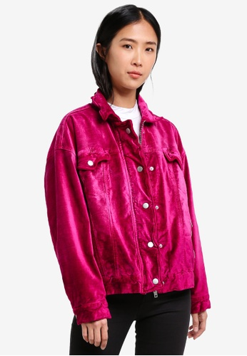 Free People pink Velvet Trucker Jacket FR659AA0S3NCMY_1