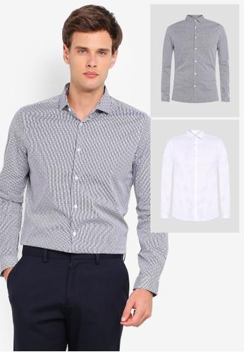 Burton Menswear London 黑色 緊身襯衫 93E3BAA2197F21GS_1