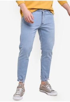 ef6afbd30 Topman blue Misty Raw Hem Slim Jeans 9AA1FAA3D42206GS_1