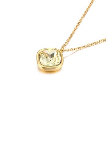 Glamorousky 金色 簡約個性鍍金色幾何方塊香檳色鋯石316L鋼吊墜配項鏈 29598AC76ACFFCGS_1