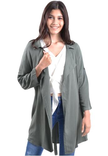 Kitschen green Layered Jacket with Back-Tie Sash 697D2AA96B5C3CGS_1