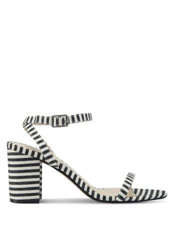Velvet black Striped Block Heels 49871SH0900717GS_1