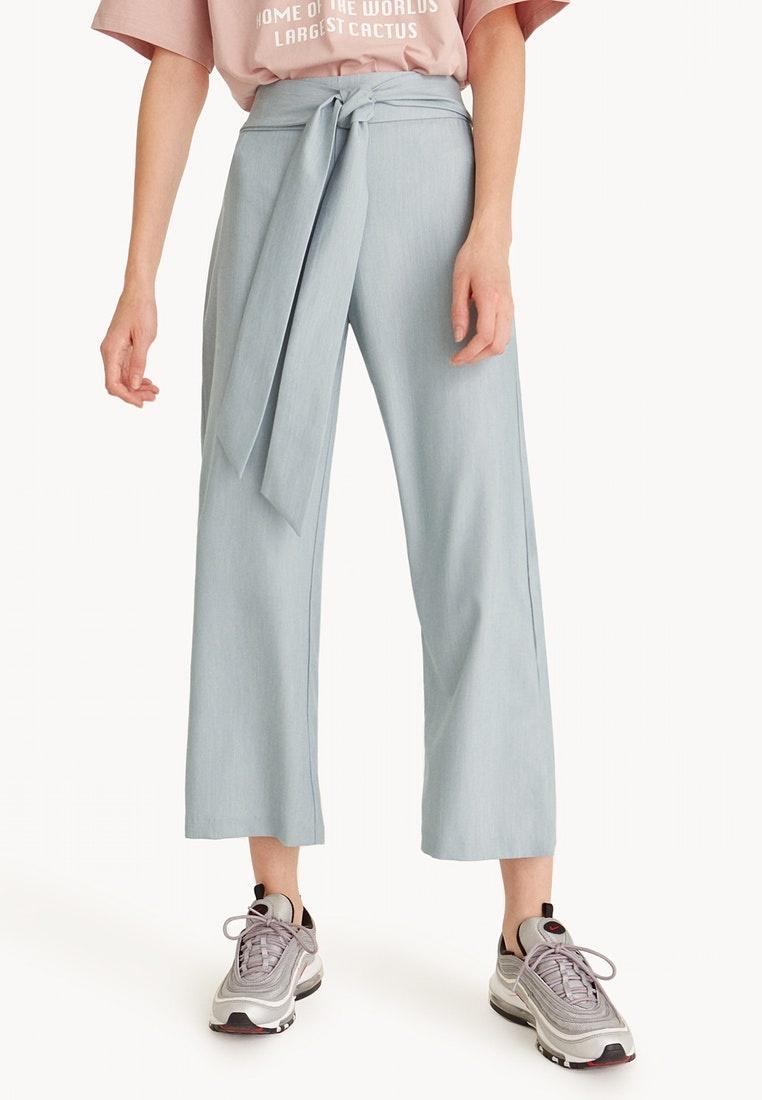 Blue Pomelo Crop Tie Straight Waist Pants Leg UBwY8Bqr