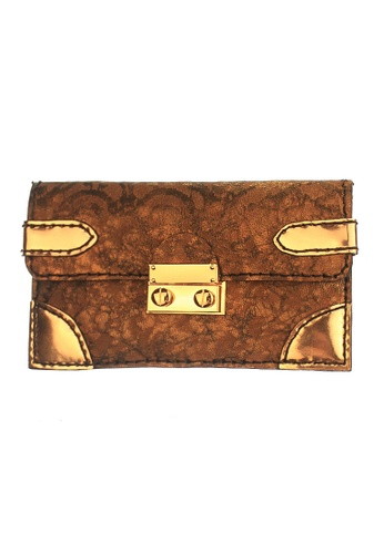 CSHEON gold and brown A.Vassy Long Wallet in Lambskin Printed Handcrafted Genuine Leather CSHEON 0F65BAC9401B5CGS_1