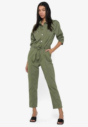 JACQUELINE DE YONG green Sophie Life Utility Jumpsuit 9F4EAAA5F1F7C7GS_1