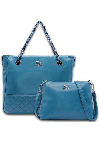 POLO HILL blue Polo Hill Lucero Faux Leather Chain Shoulder Bag Set E9393AC916A50EGS_1