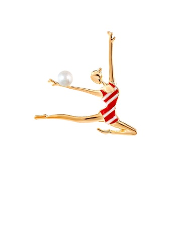 Glamorousky white Fashion and Simple Plated Gold Enamel Red Gymnast Brooch with Imitation Pearls C475FAC93B8282GS_1